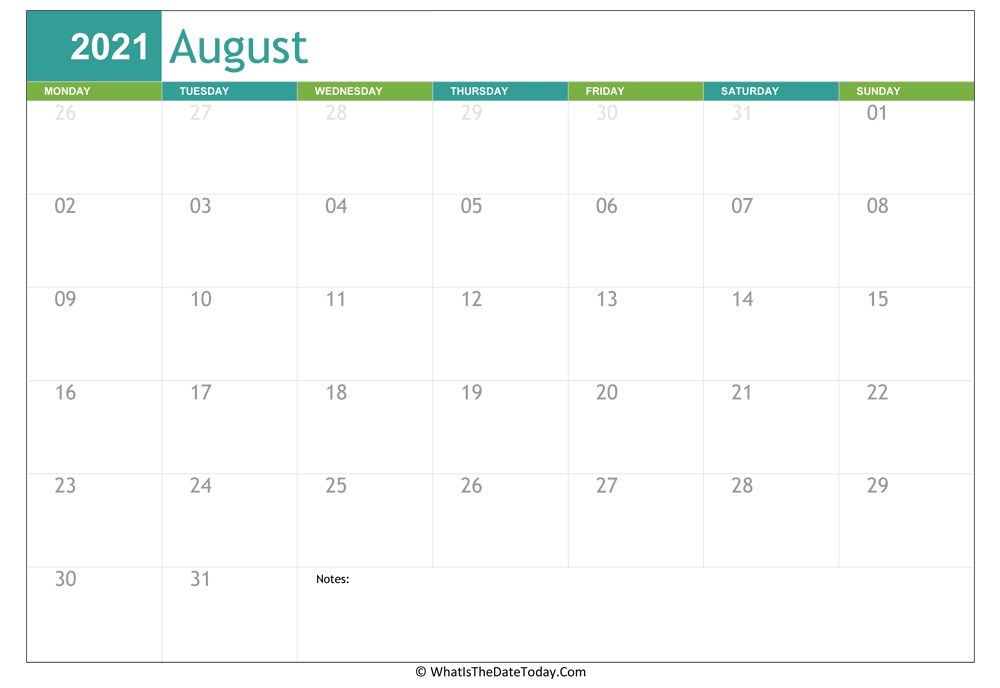 fillable august calendar 2021 with notes