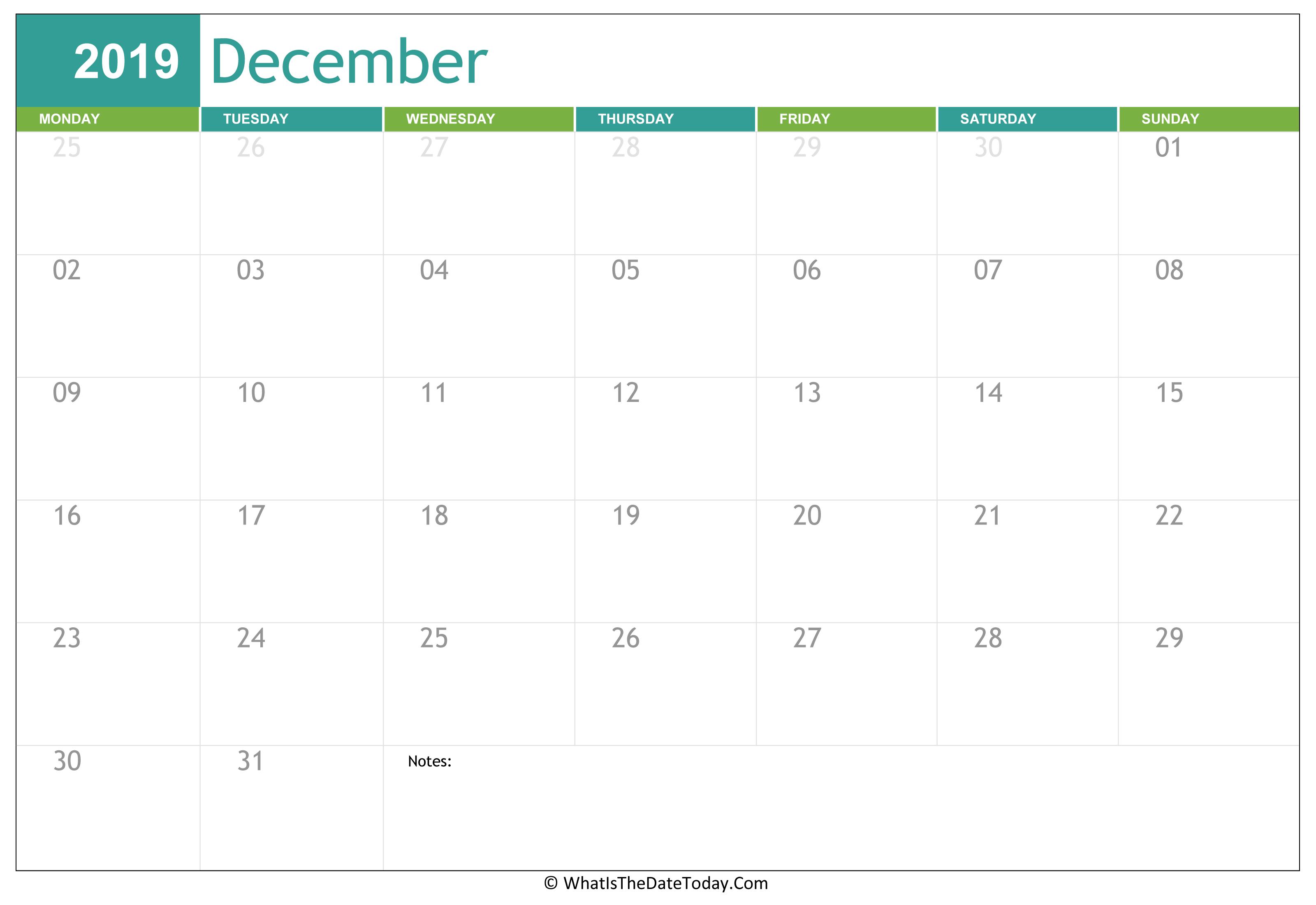 Fillable December Calendar 2019 | Whatisthedatetoday.Com