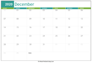 fillable december calendar 2020