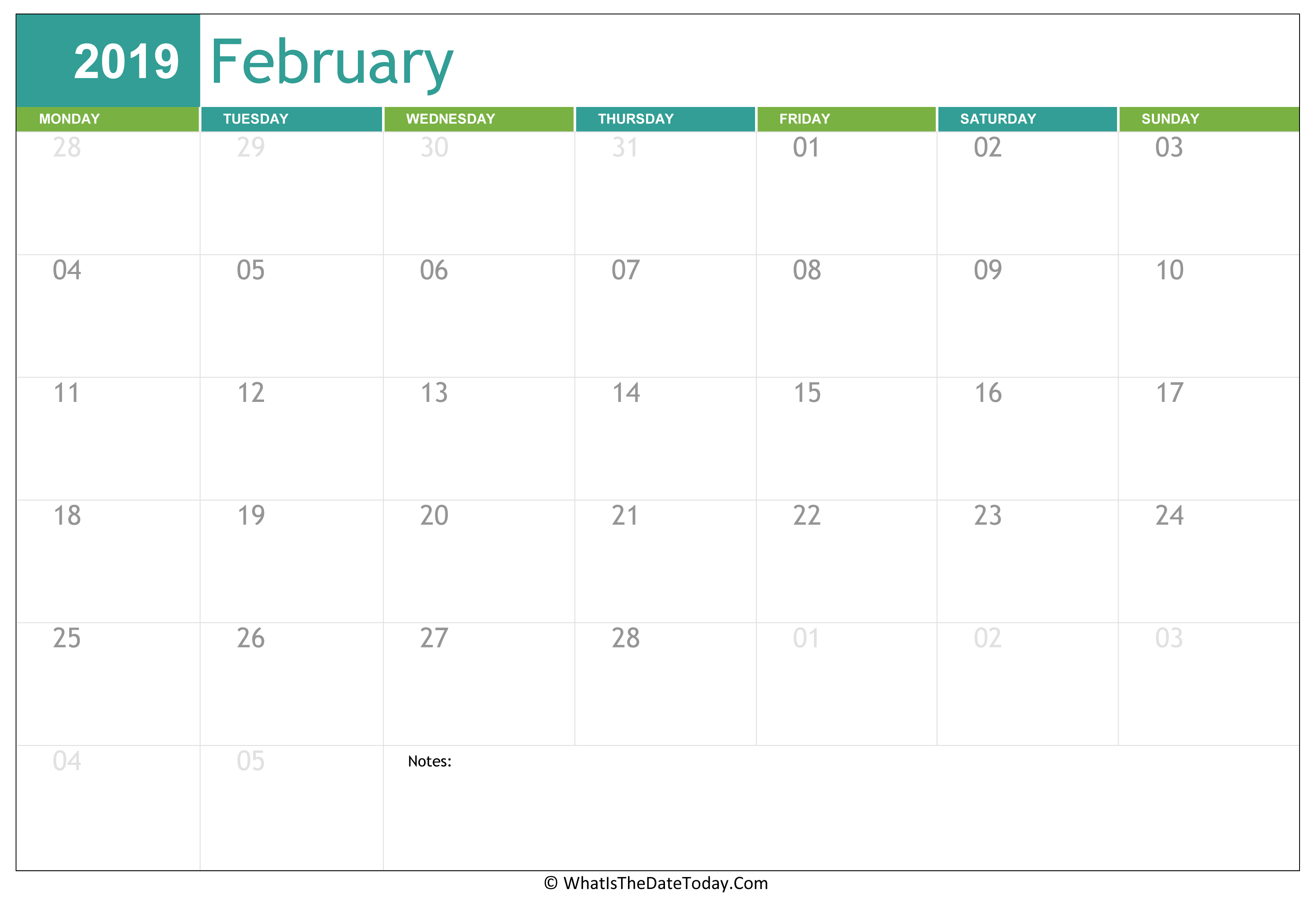 February Calendar 2019.Fillable February Calendar 2019 Whatisthedatetoday Com