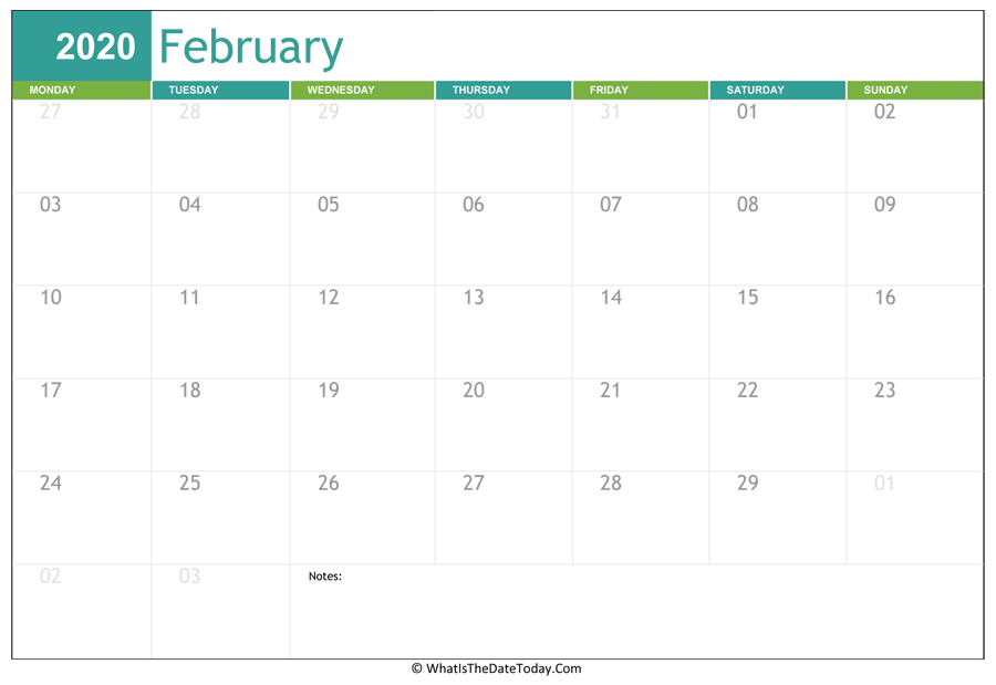 fillable february calendar 2020 with notes