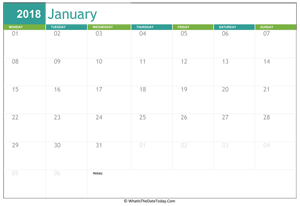 fillable january calendar 2018