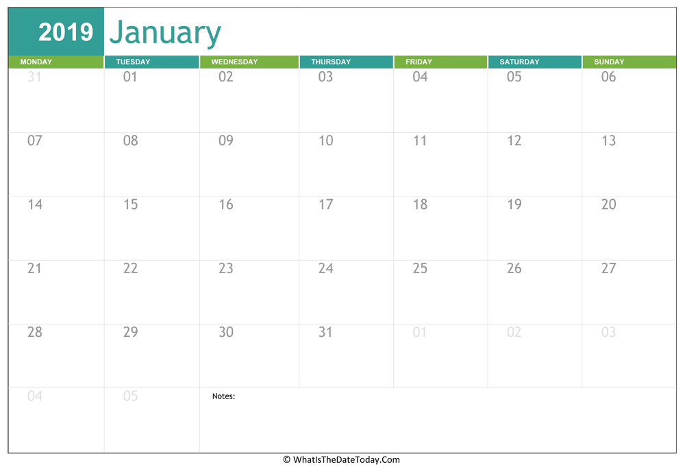 fillable january calendar 2019 with notes