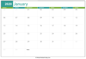 Fillable 2020 Calendar January 2020 Calendar Templates | Whatisthedatetoday.Com