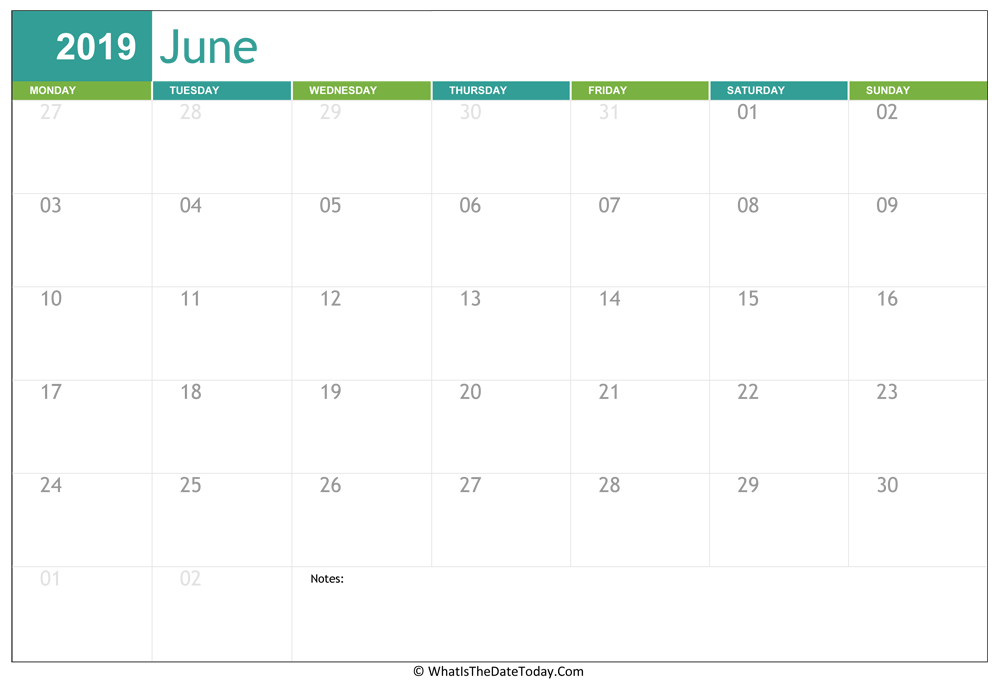 fillable june calendar 2019 with notes