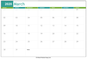 Fillable 2020 Calendar March 2020 Calendar Templates | Whatisthedatetoday.Com