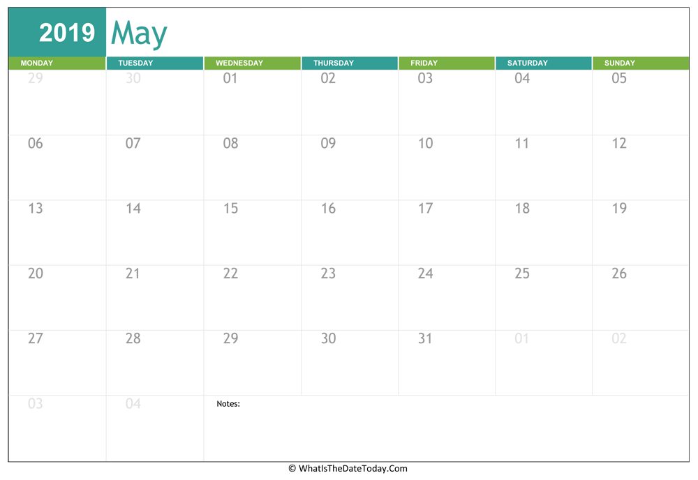 fillable may calendar 2019 with notes