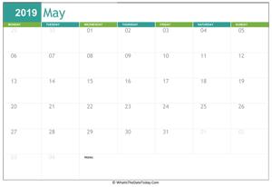 Printable Calendar May 2019 Whatisthedatetoday Com