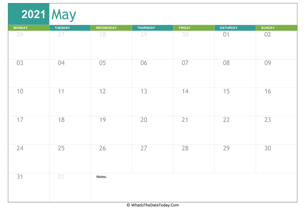fillable may calendar 2021 with notes