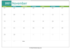 fillable november calendar 2021