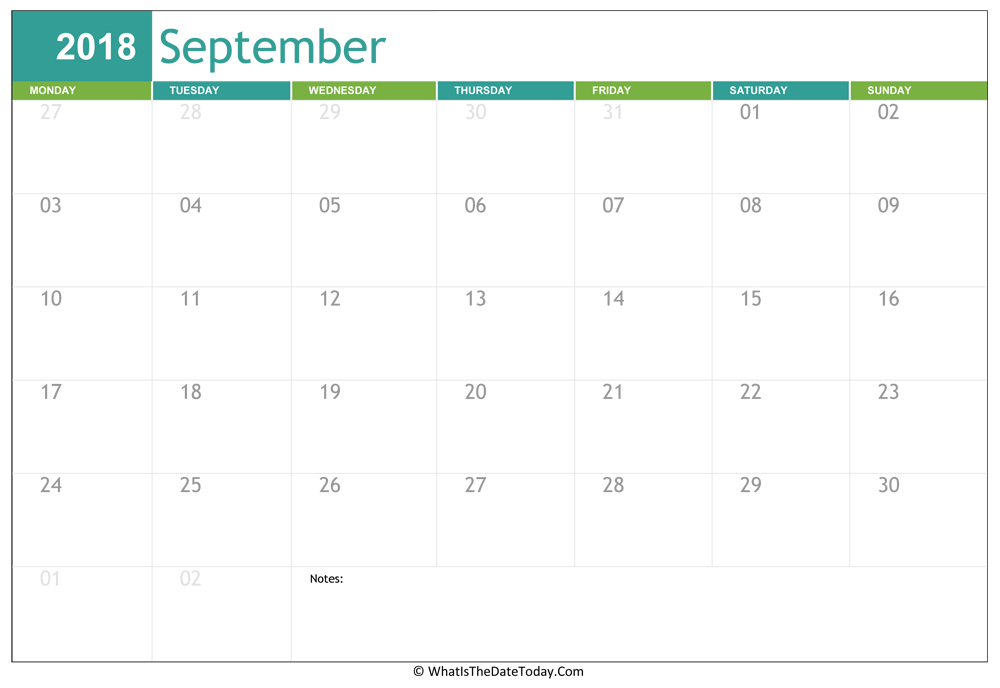fillable september calendar 2018 with notes