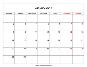 january 2017 calendar with weekend highlight