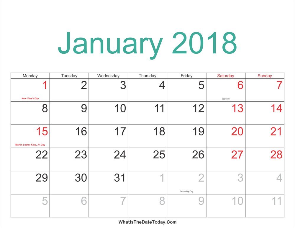 january 2018 calendar holidays printable