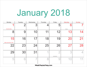 january 2018 calendar printable with holidays