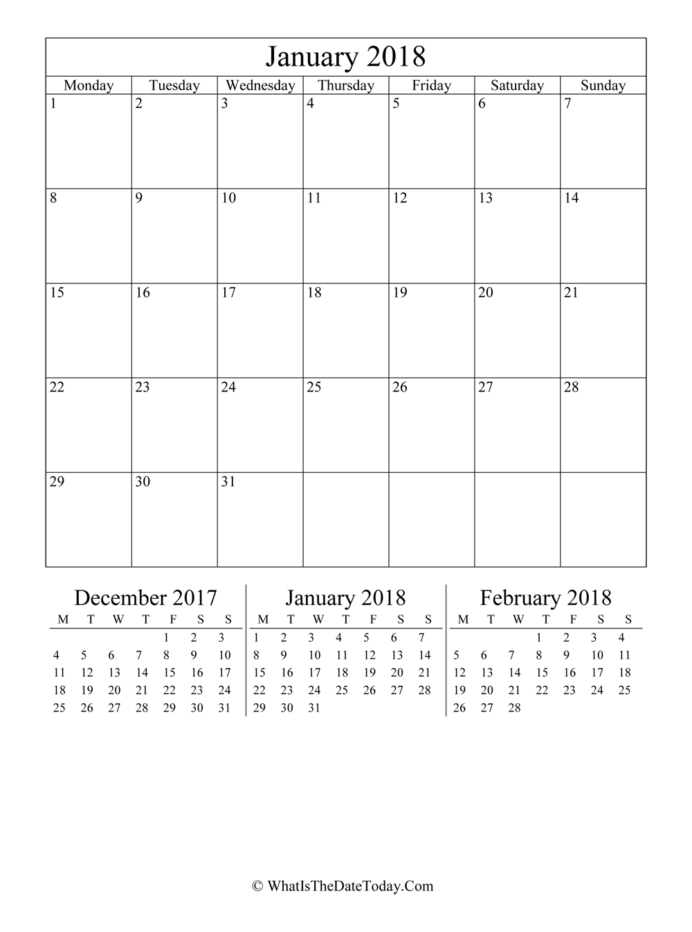 january 2018 editable calendar with three mini calendars in vertical layout