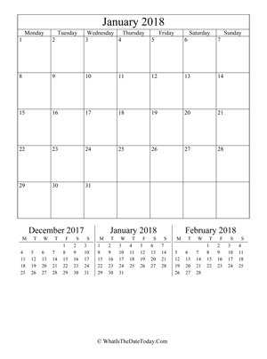 january 2018 editable calendar (vertical) with three mini months