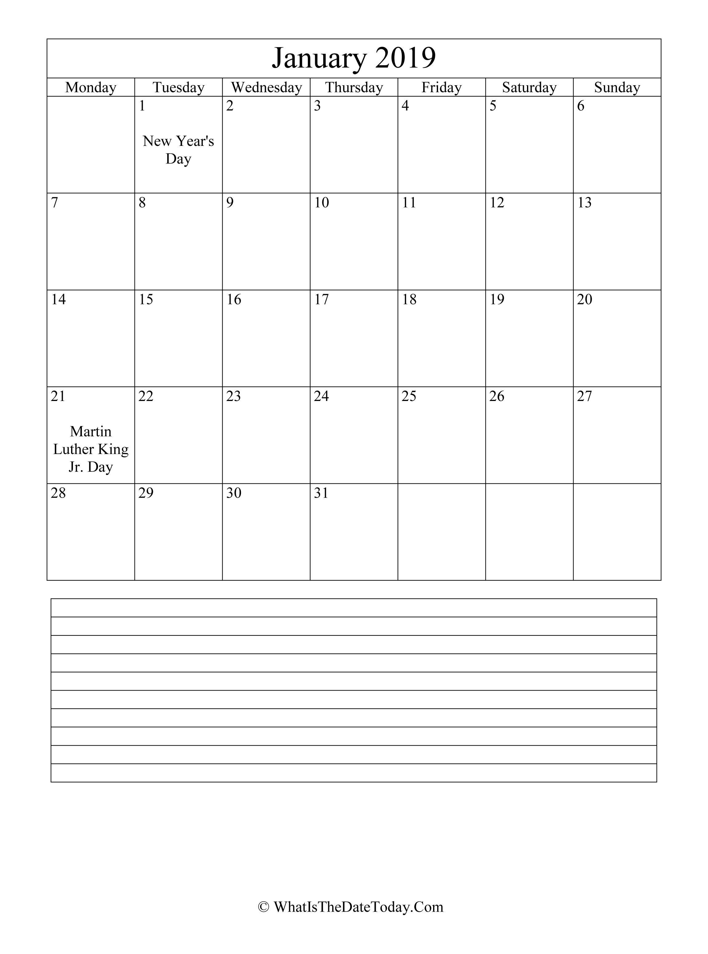 January 2019 Calendar Mlk Day January 2019 Calendar Editable with Notes Space (vertical layout)