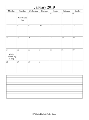 january 2019 calendar editable with notes (vertical)
