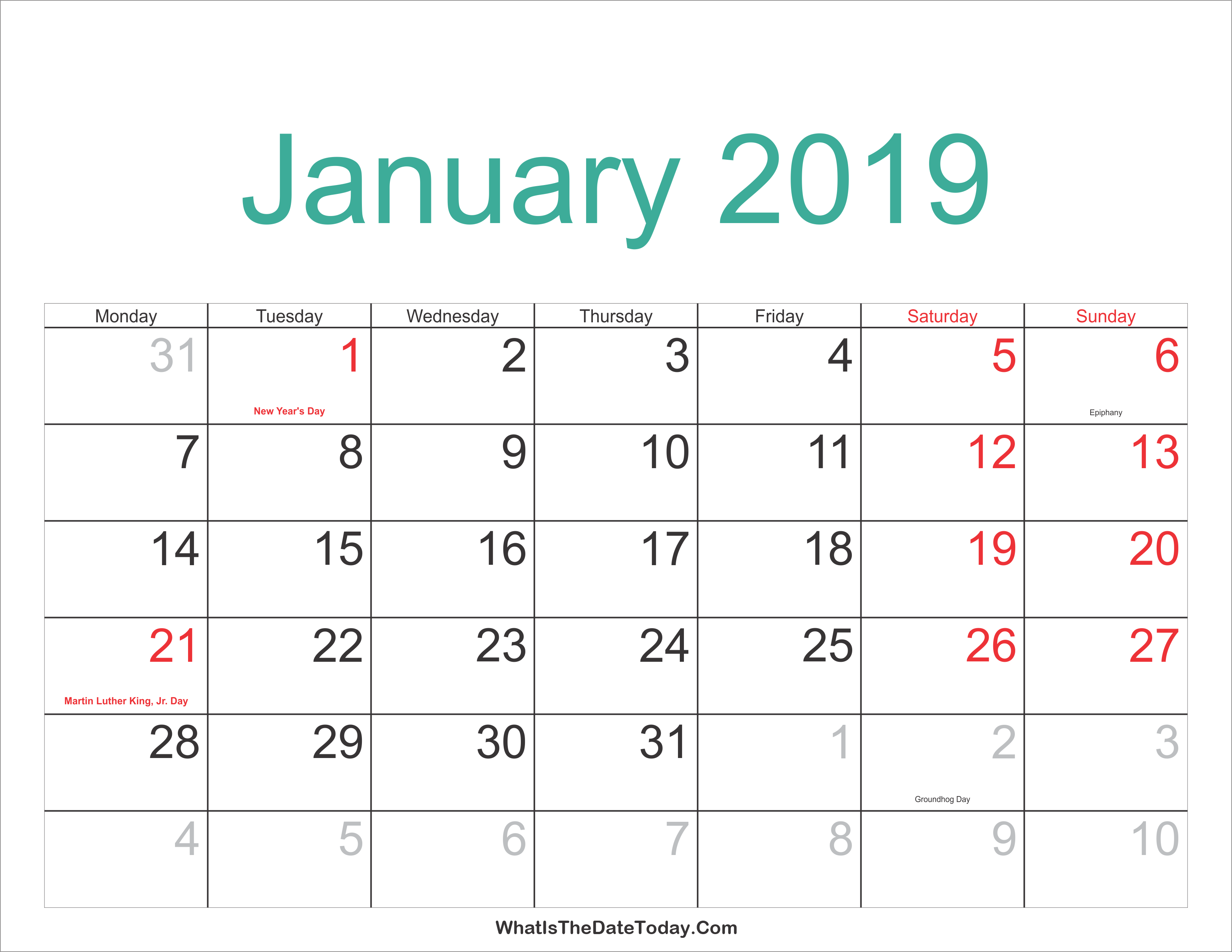 january 2019 calendar printable with holidays