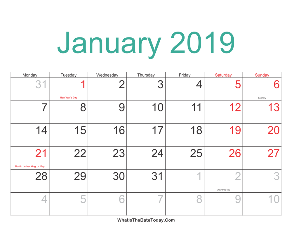 2019 Calendar January With Holidays January 2019 Calendar Printable with Holidays | Whatisthedatetoday.Com