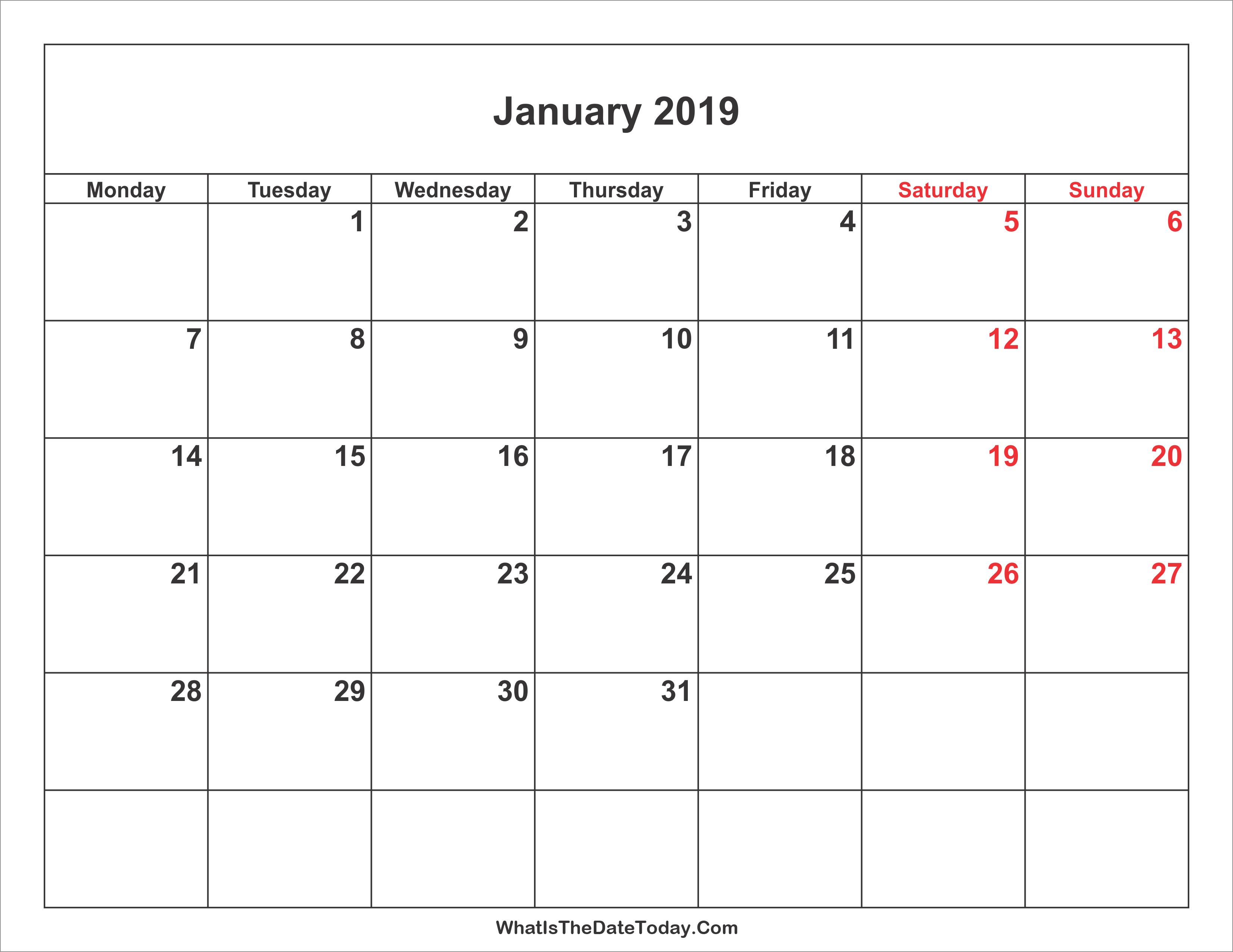 Weekend Calendar 2019 January 2019 Calendar with Weekend Highlight | Whatisthedatetoday.Com