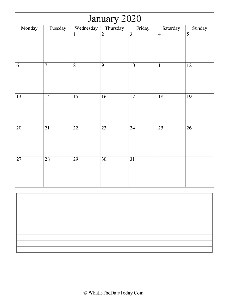 january 2020 calendar editable with notes in vertical layout
