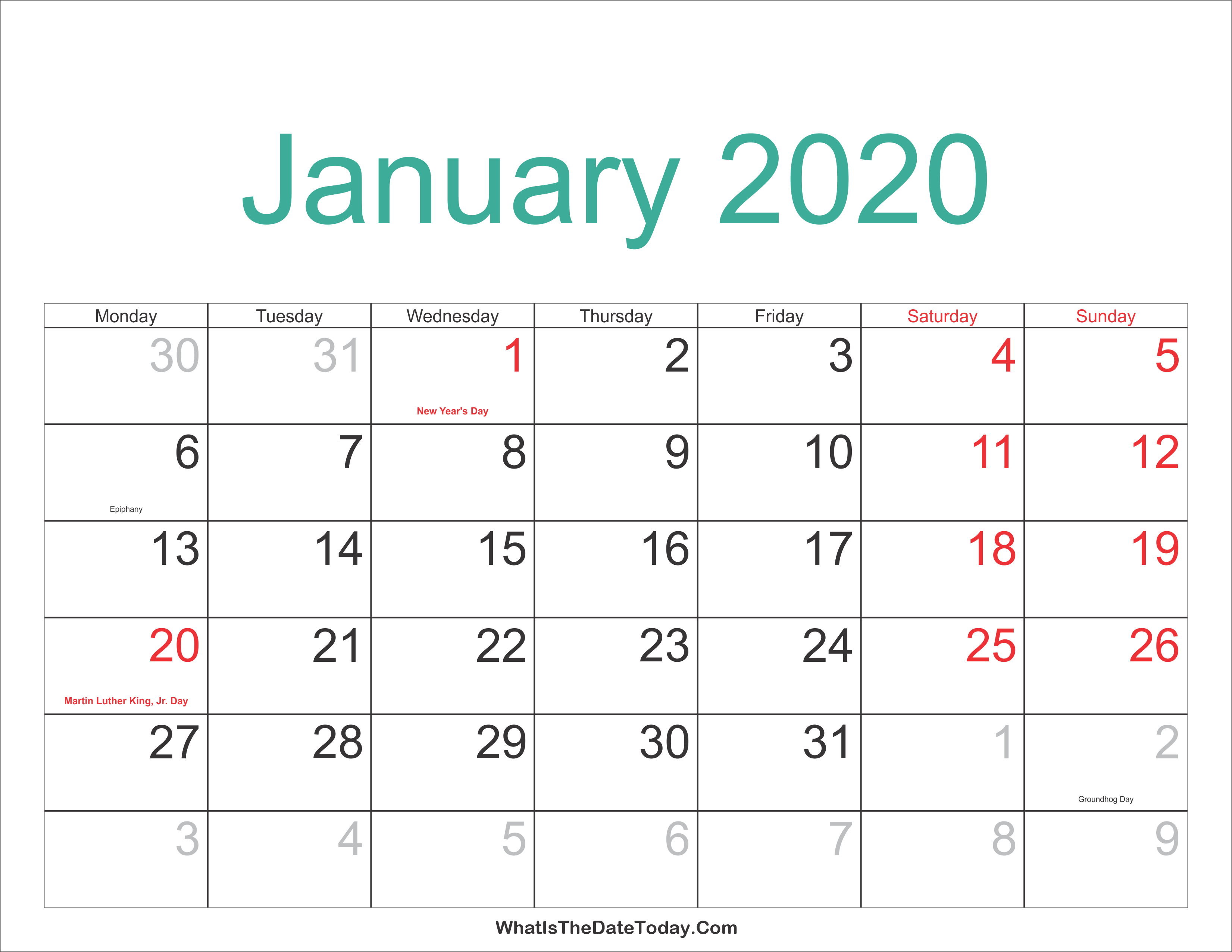 Martin Luther King Day 2020 Calendar January 2020 Calendar Printable with Holidays | Whatisthedatetoday.Com