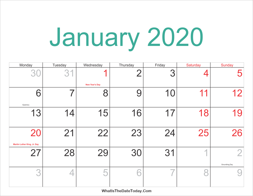 Hebrew Calendar January 2020 January 2020 Calendar Printable with Holidays | Whatisthedatetoday.Com