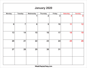 january 2020 calendar with weekend highlight
