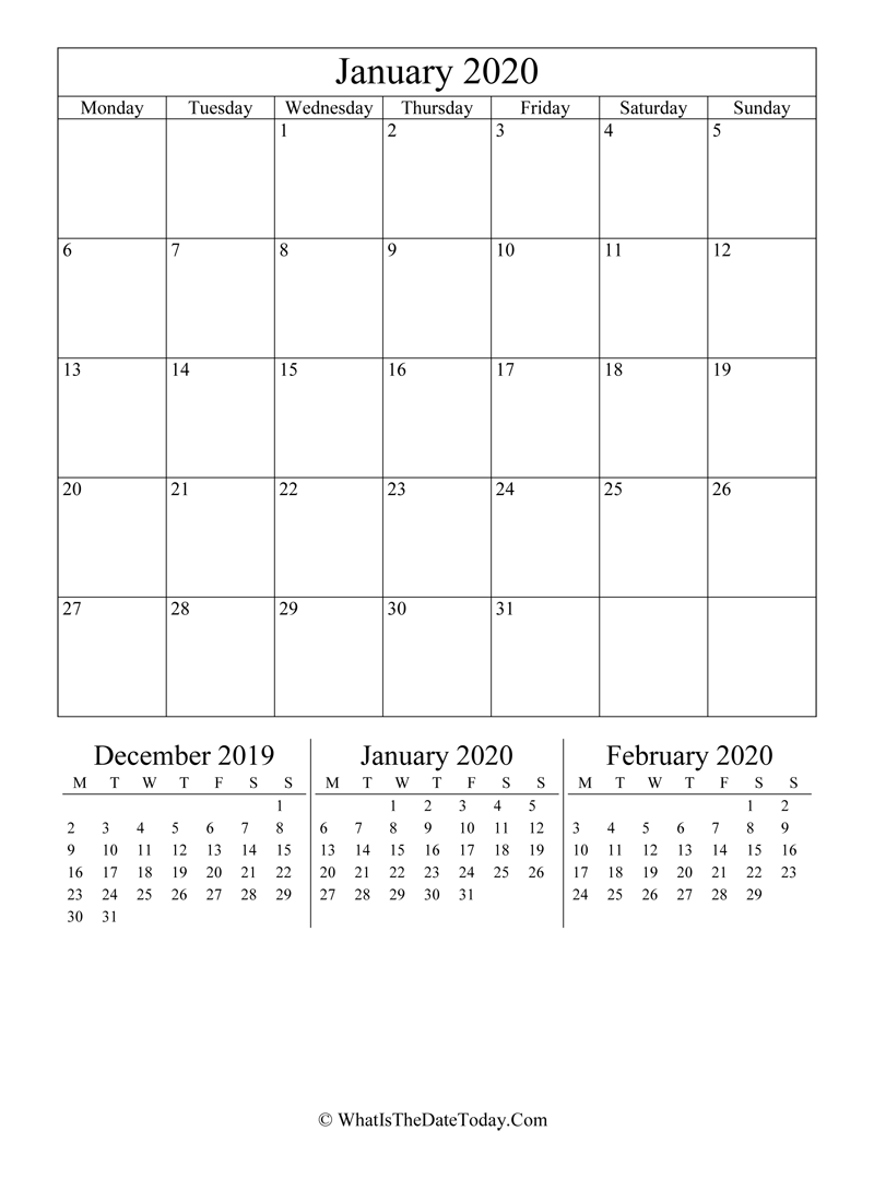 january 2020 editable calendar with three mini calendars in vertical layout