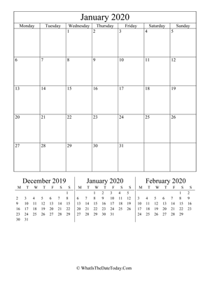 january 2020 editable calendar (vertical) with three mini months