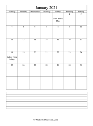 january 2021 calendar editable with notes (vertical)