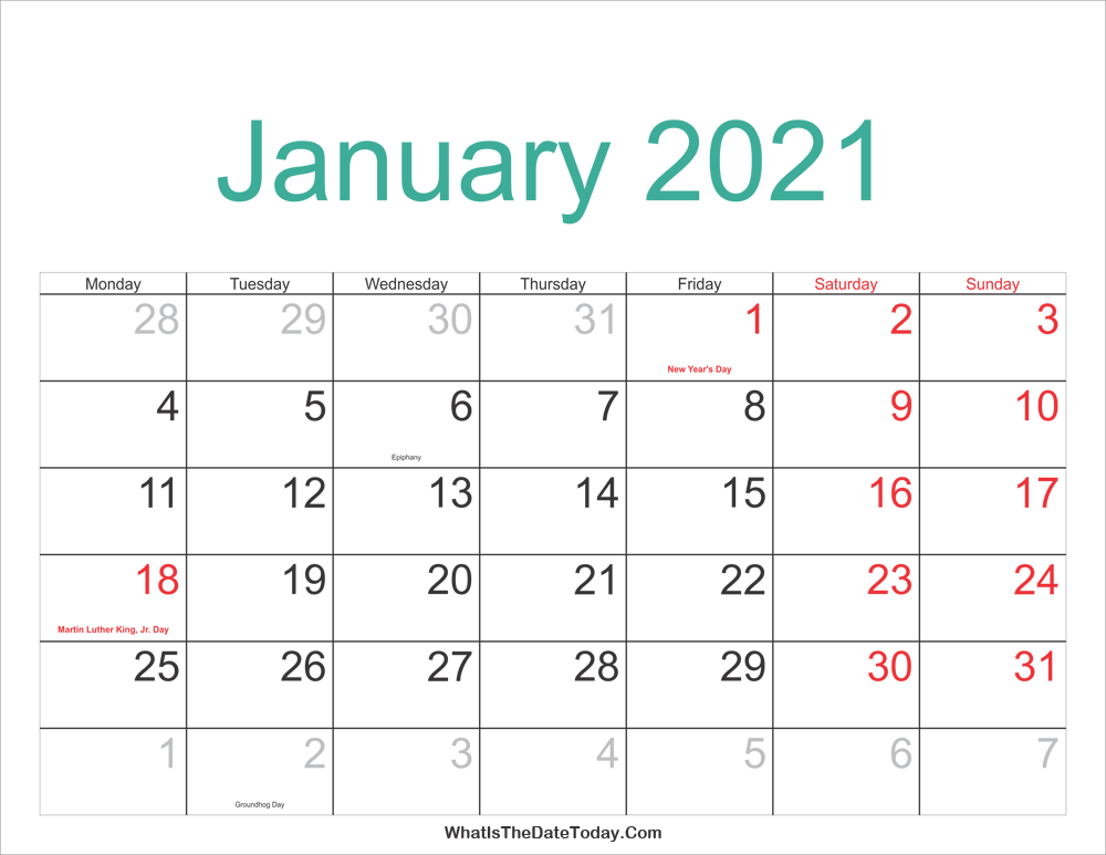January 2021 Calendar Printable with Holidays