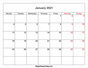 january 2021 calendar with weekend highlight