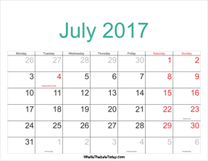 july 2017 calendar printable with holidays