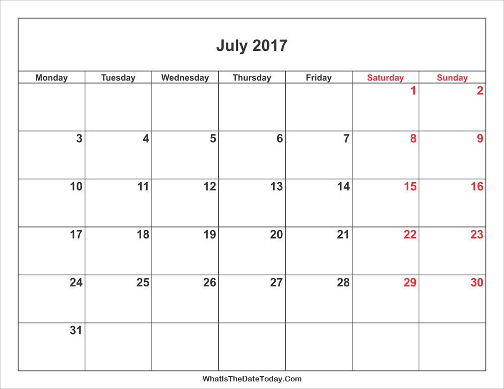 July 2017 Calendar with weekend highlight