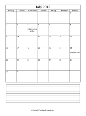 july 2018 calendar editable with notes (vertical)