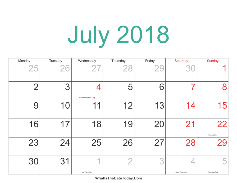 july 2018 calendar with holidays July 2018 Calendar Printable with Holidays | Whatisthedatetoday.Com july 2018 calendar with holidays
