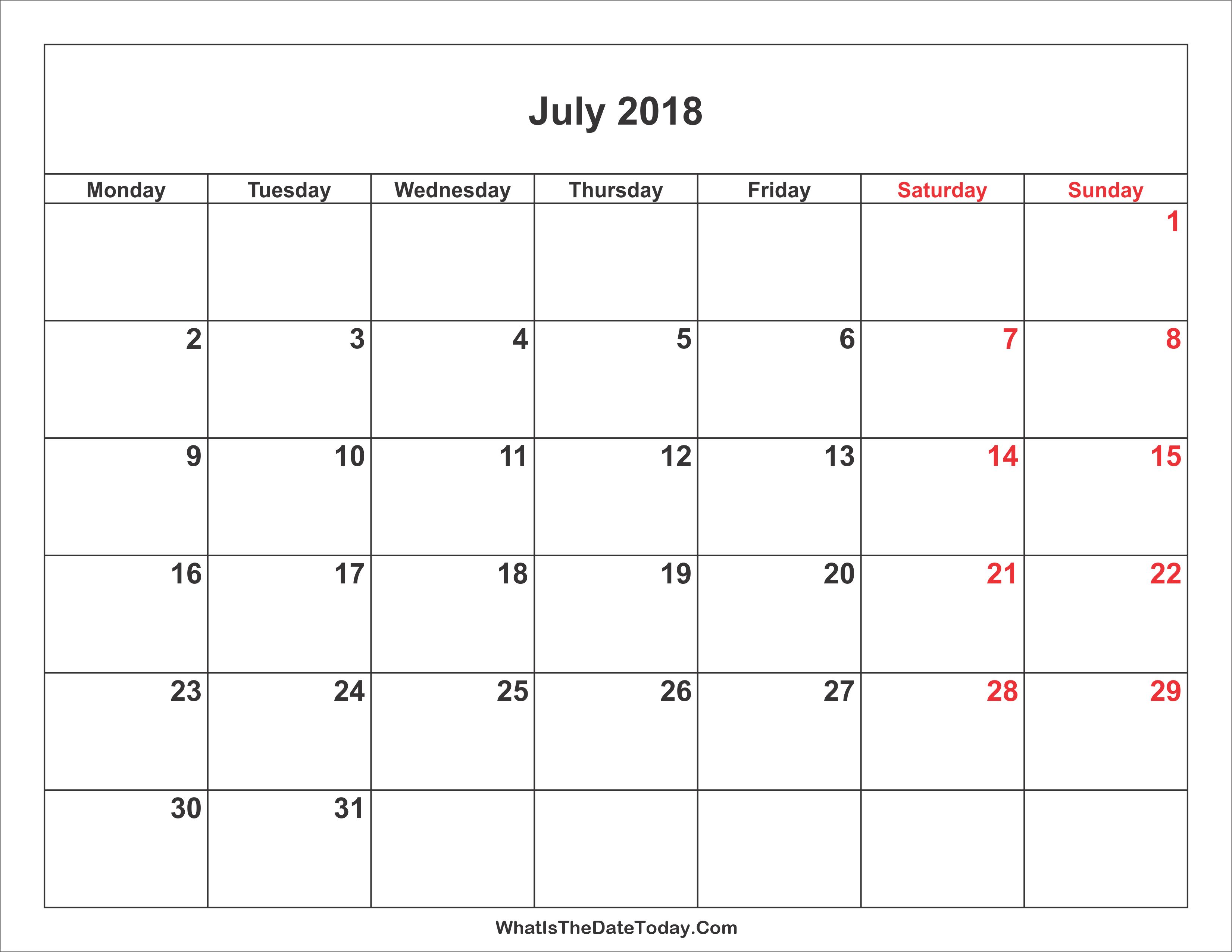 july 2018 calendar with weekend highlight