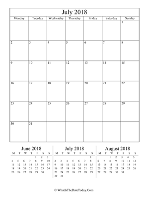 july 2018 editable calendar (vertical) with three mini months