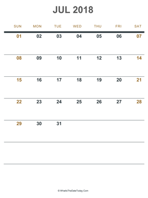 Blank July Calendar 2018 Editable WhatisthedatetodayCom