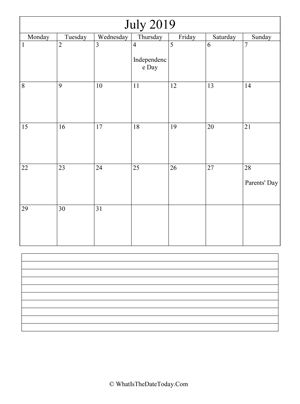 july 2019 calendar editable with notes (vertical)