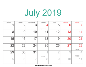 july 2019 calendar printable with holidays