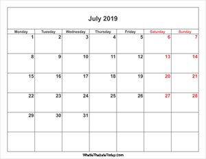 july 2019 calendar with weekend highlight