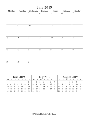 july 2019 editable calendar (vertical) with three mini months