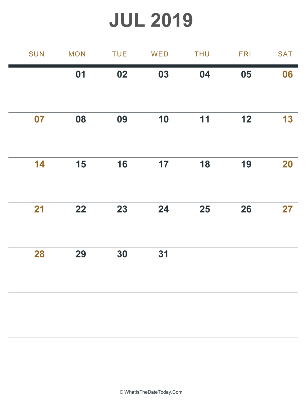 july 2019 printable calendar (portrait layout)