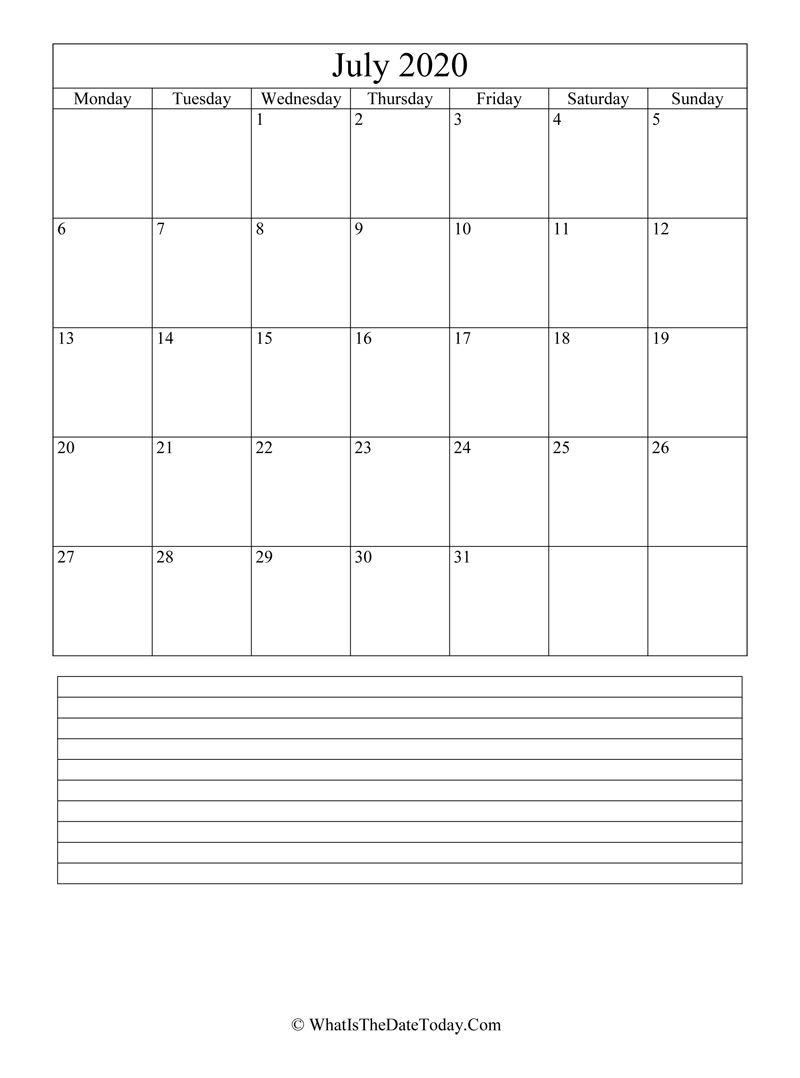 Calendar Of July 2020.July 2020 Calendar Editable With Notes Space Vertical Layout