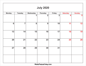 july 2020 calendar with weekend highlight