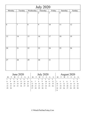 july 2020 editable calendar (vertical) with three mini months
