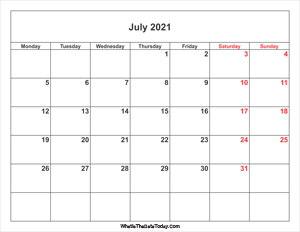 july 2021 calendar with weekend highlight